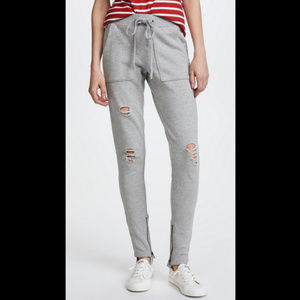 Pam & Gela French Terry Distressed Stirrup Pants